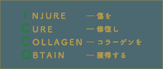 INJURE― 傷を/ CURE― 修復し/ COLLAGEN― コラーゲンを/ OBTAIN― 獲得する